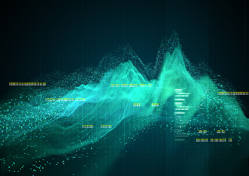 An Abstract technical Graph background design. 3D Illustration.