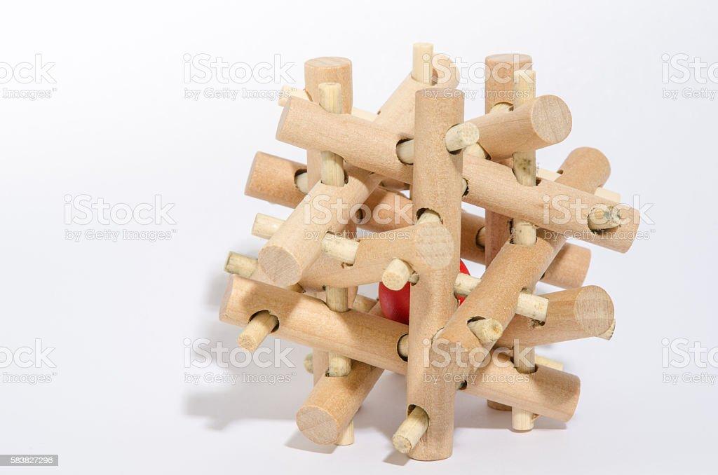 Complex Wooden Puzzle stock photo