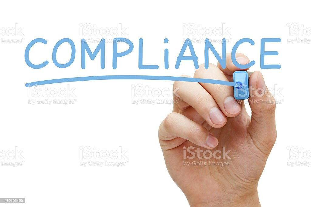 Compliance Blue Marker stock photo