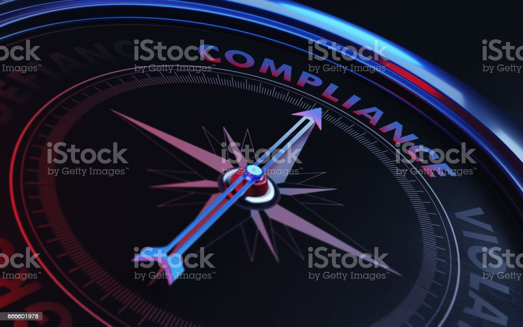 Compliance Concept: Arrow of A Compass Compliance Text stock photo