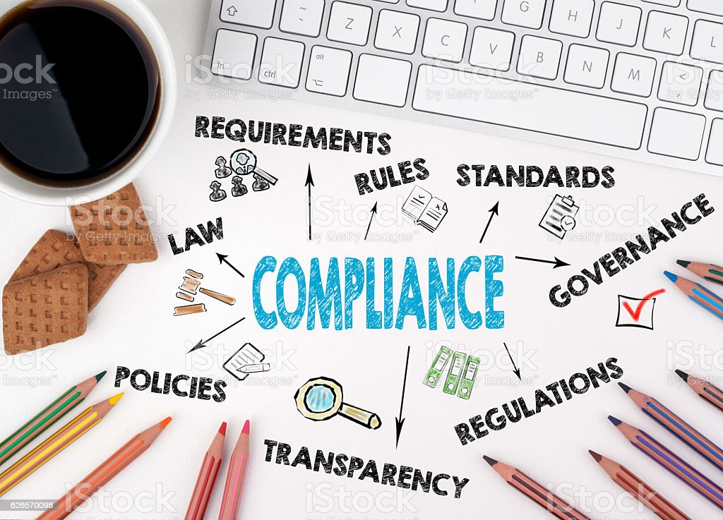 Compliance concept. White office desk stock photo
