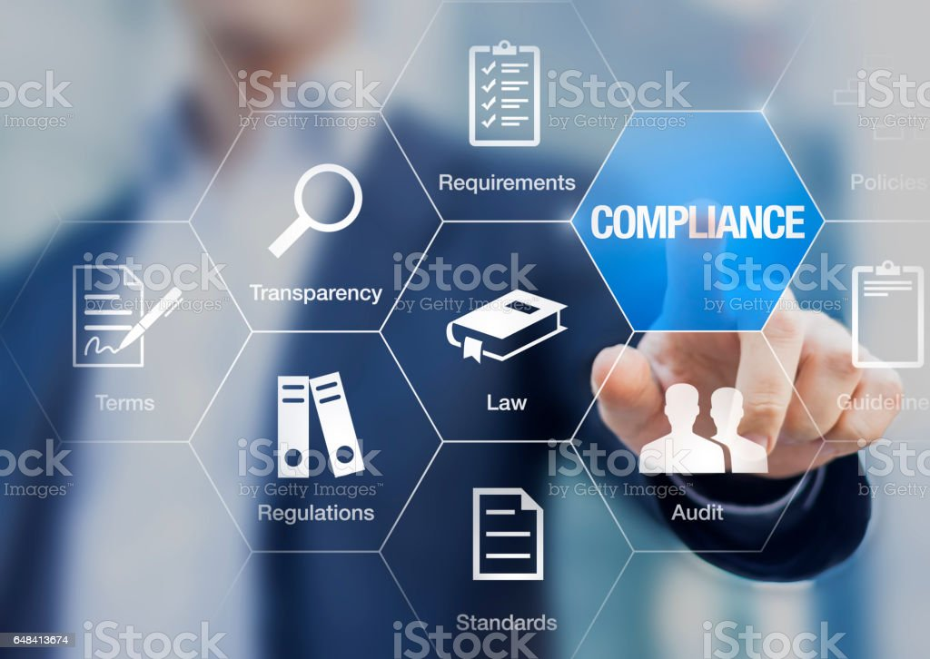 Compliance concept with icons, virtual screen, businessman touching button - Royalty-free Audit Stock Photo