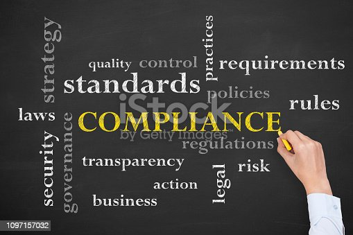 istock Compliance Concepts on Blackboard Background 1097157032