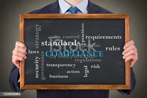 464906632 istock photo Compliance Concepts on Chalkboard Background 1203606964