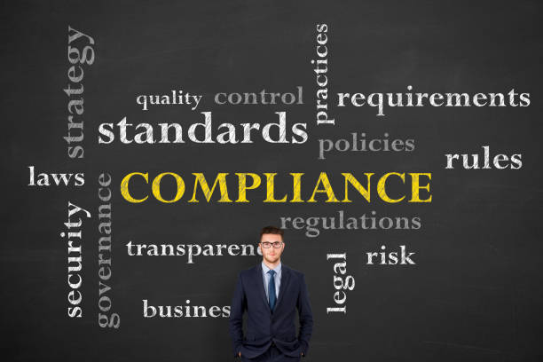 Compliance Concepts on Chalkboard Background stock photo
