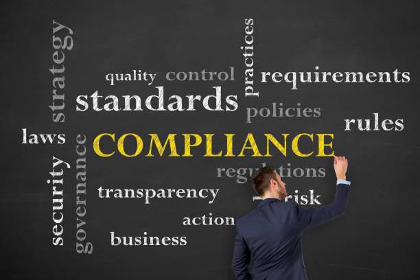 Compliance Concepts on Chalkboard stock photo