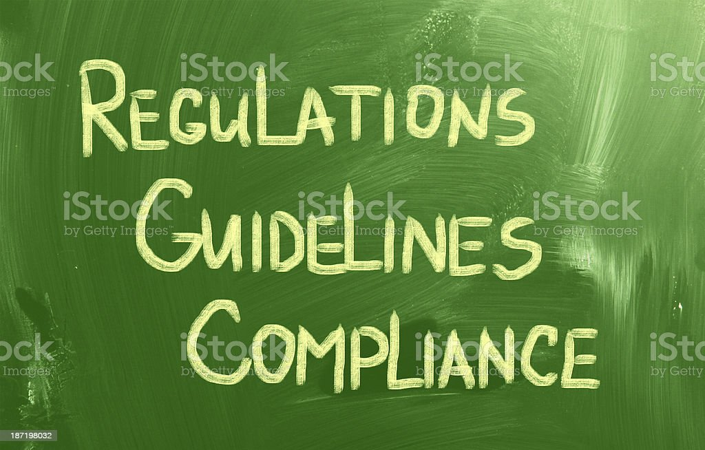 Compliance Guidelines Regulations written on a green board royalty-free stock photo