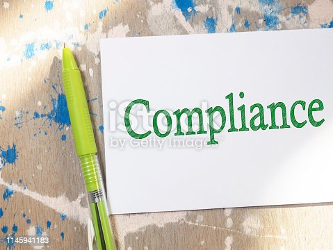 istock Compliance, Motivational Business Marketing Words Quotes Concept 1145941183