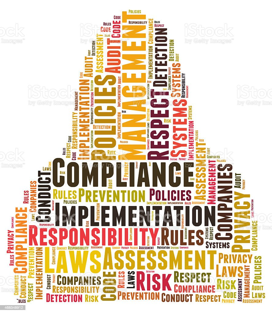 Compliance word cloud shaped as a body royalty-free stock photo