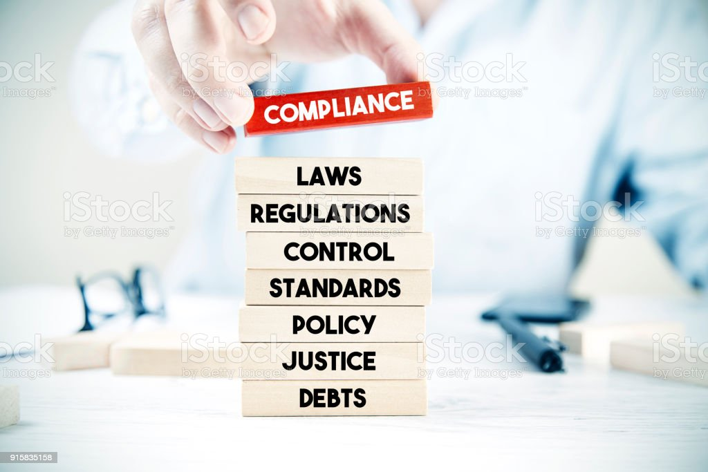 Compliance word cloud with blocks stock photo