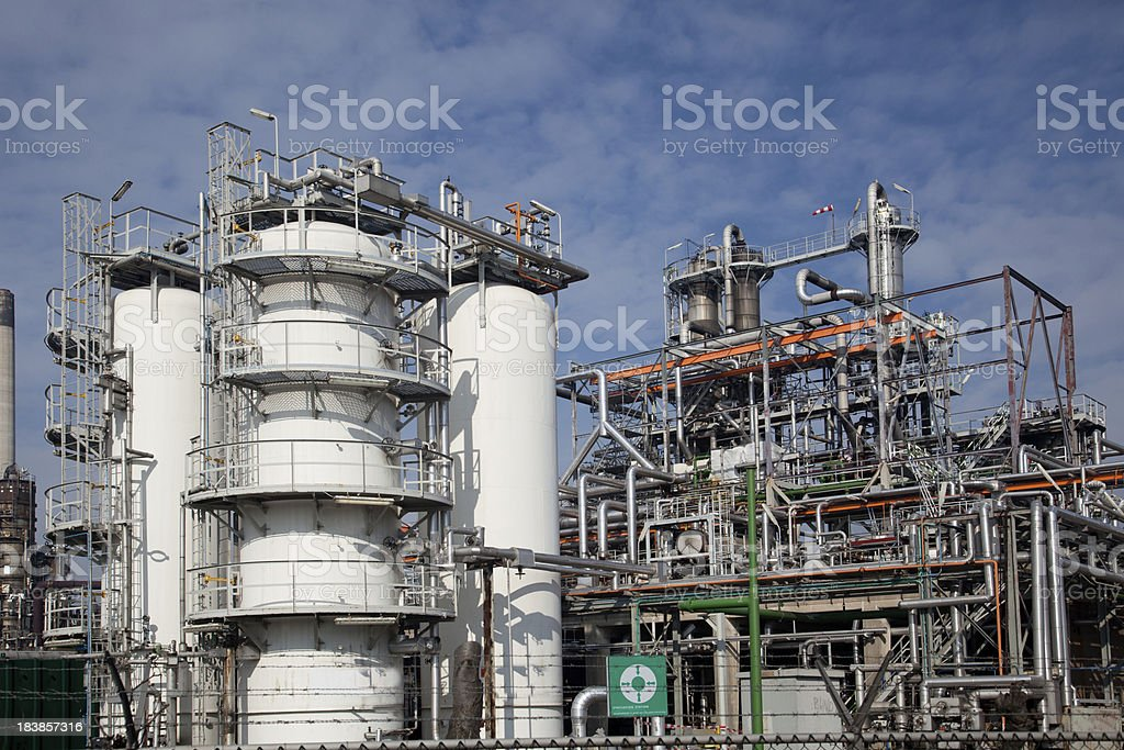 Complicated petrochemical plant royalty-free stock photo