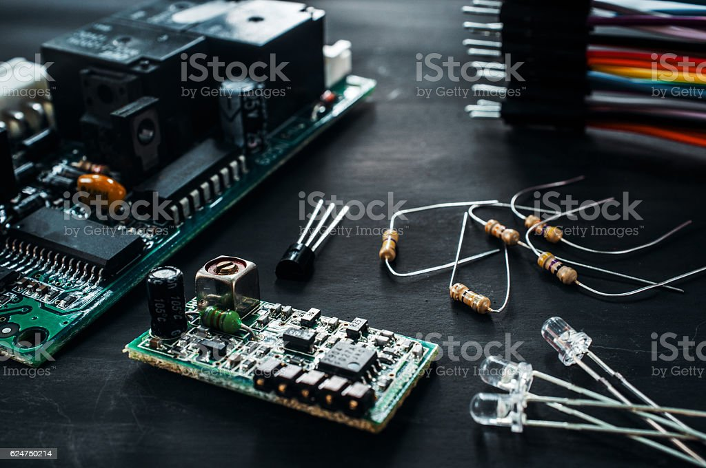 Components for electronics development, diy - foto de stock