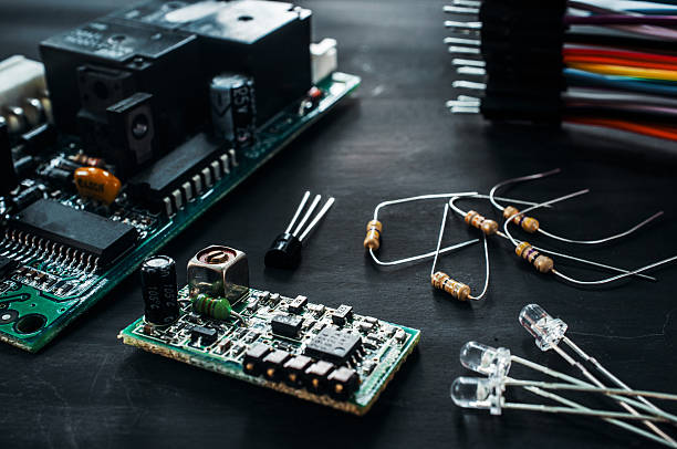 Components for electronics development, diy stock photo