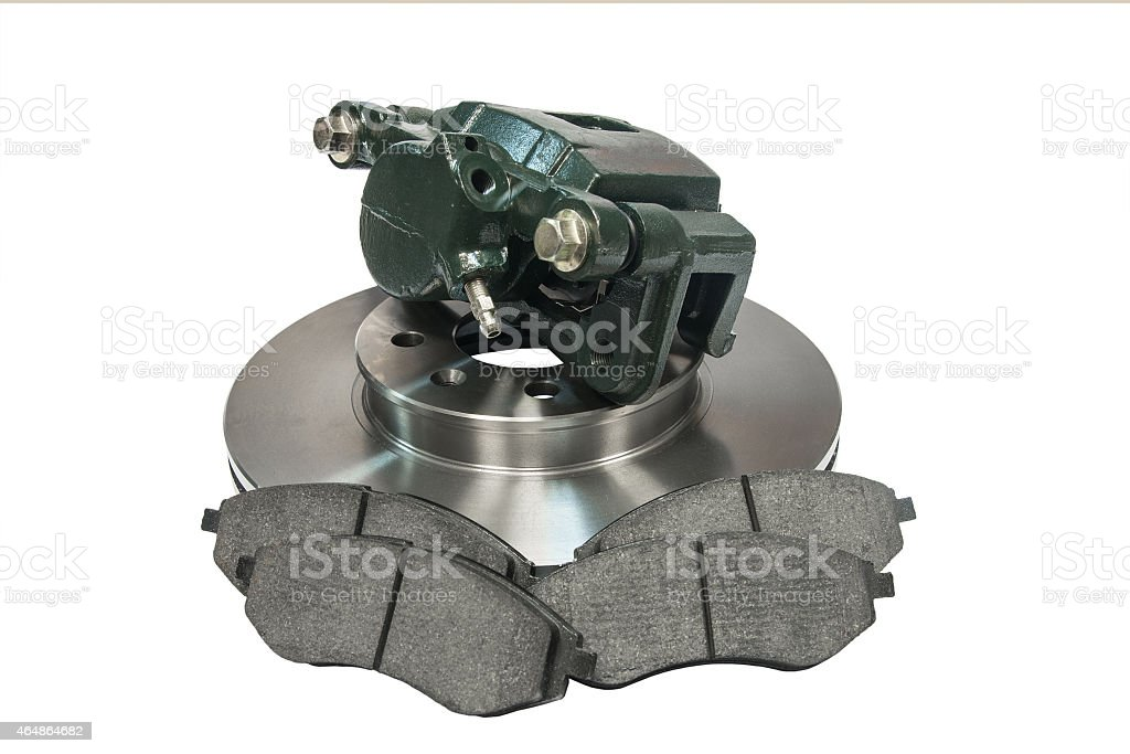 Components of the braking system of a vehicle stock photo