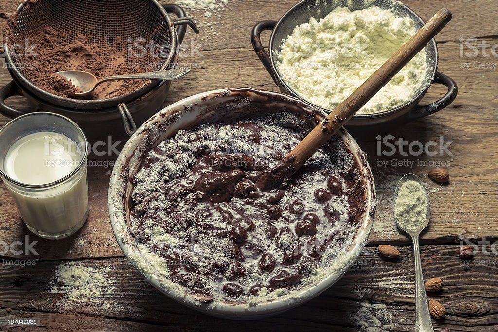 Components on the homemade chocolate with nuts royalty-free stock photo