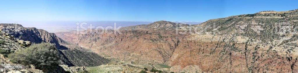 Composite high-resolution panorama of the Dana Reserve, a 1000-metre deep valley cut in the south-western mountainous region of the Kingdom of Jordan. stock photo