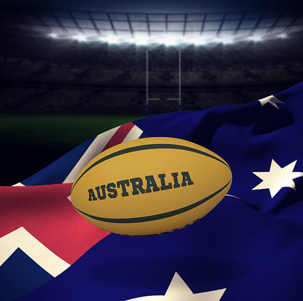 Composite image of australia rugby ball stock photo