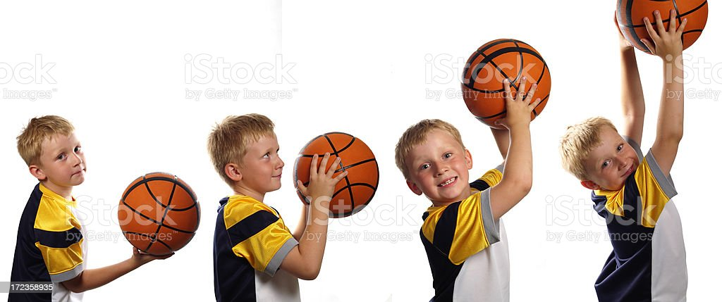 Composite image of boy with basketball royalty-free stock photo