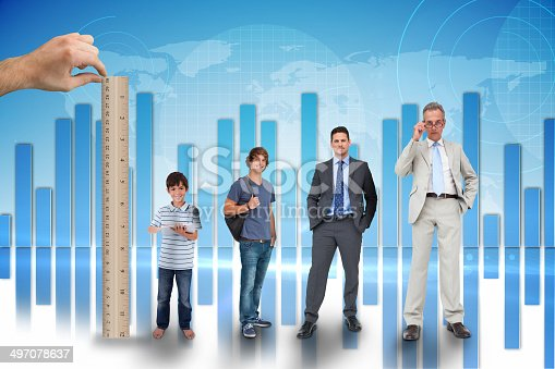 Composite image of hand measuring life stages of businessman with ruler against global business graphic in blue