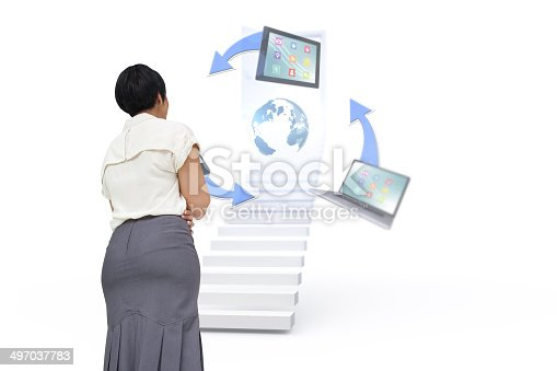 istock Composite image of businesswoman standing 497037783