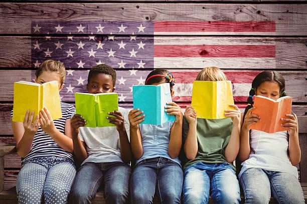 composite-bild der kinder lesen bücher im park - zeichen lesen stock-fotos und bilder