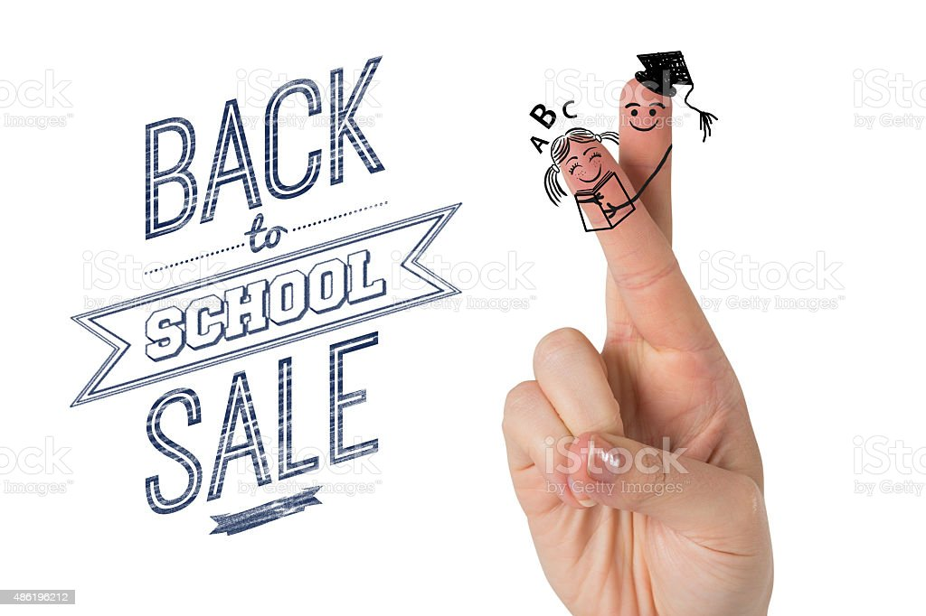 Composite image of fingers posed as students stock photo