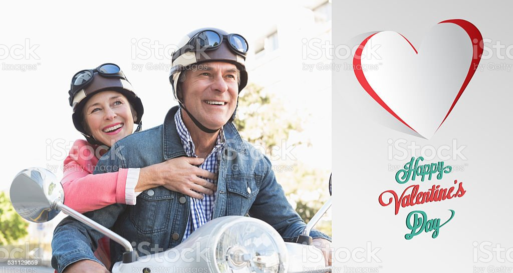 Composite image of happy senior couple riding a moped stock photo