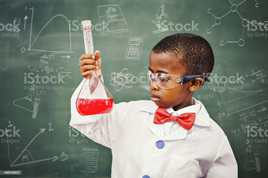 Composite image of math and science doodles stock photo