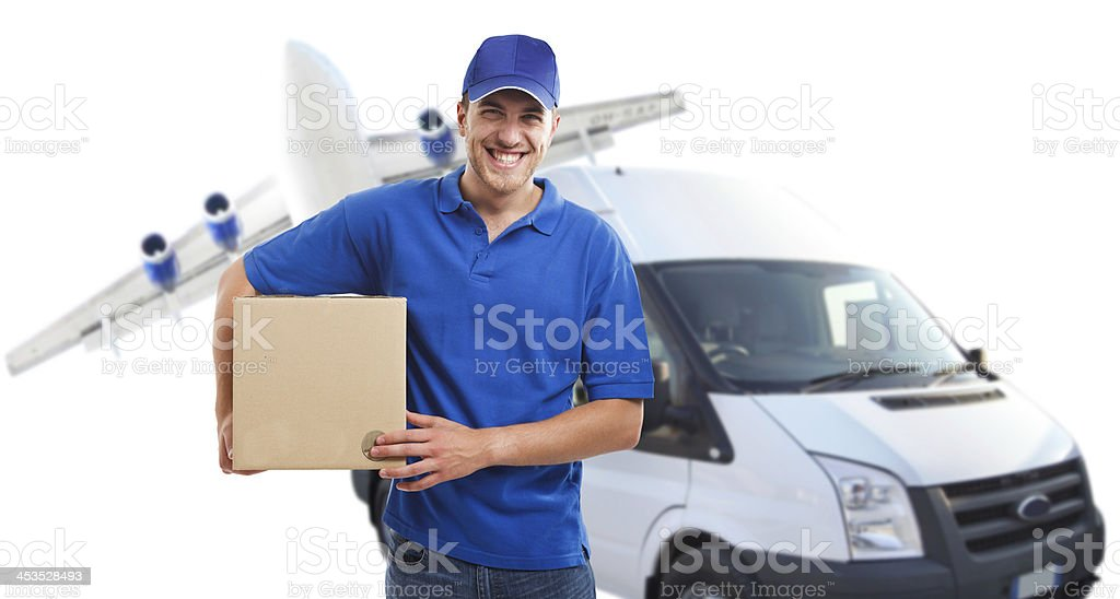 Composite image of plane, van and delivery man with parcel stock photo