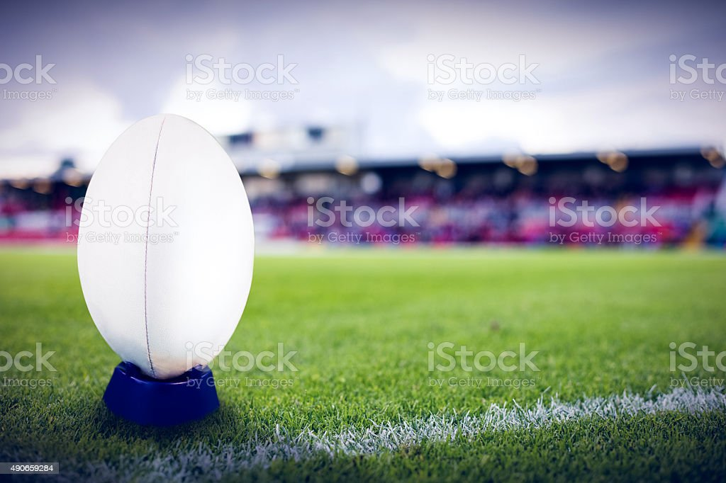 Composite image of rugby ball stock photo