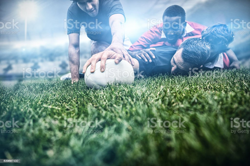 Composite image of rugby fans in arena 3d - foto de stock