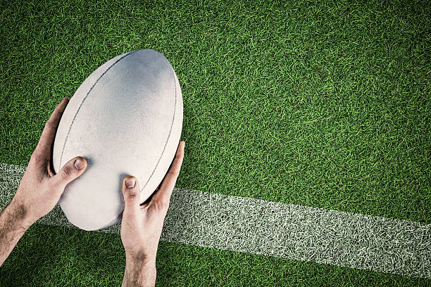 composite image of rugby player scoring try - rugby ball stock photos and pictures