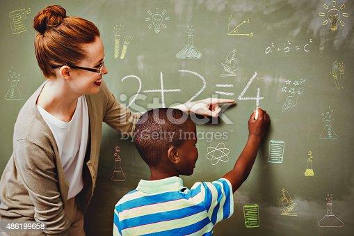 istock Composite image of school subjects doodles 486199658