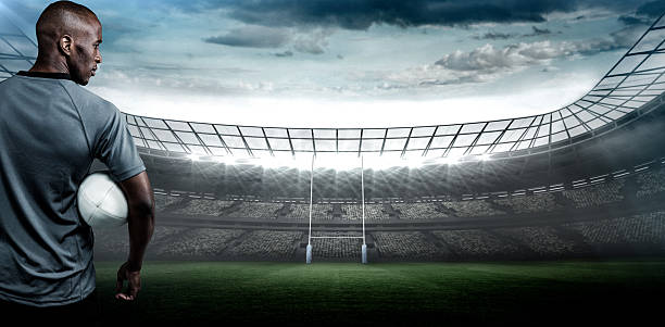 imagen compuesta de graves jugador de rugby - rugby fotografías e imágenes de stock