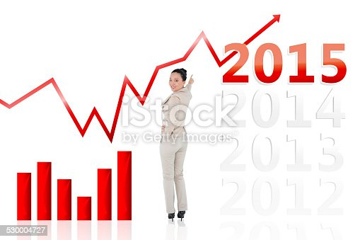 istock Composite image of smiling asian businesswoman pointing 530004727