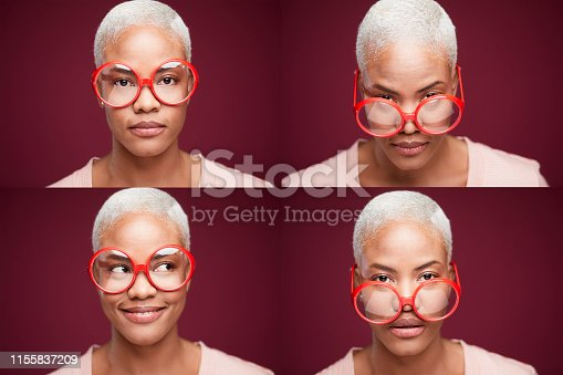 Composite image of woman with huge eyeglasses.