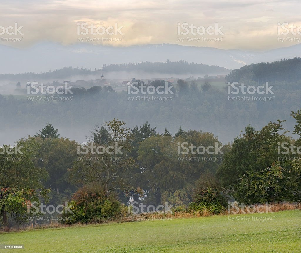 Composite of Autumn Morning with valley fog  in Vaud stock photo