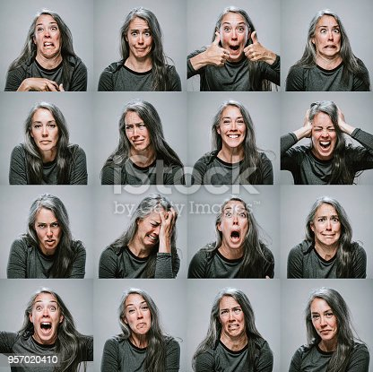 A series of head shot portraits of a woman making different faces and expressing an assortment of emotions.