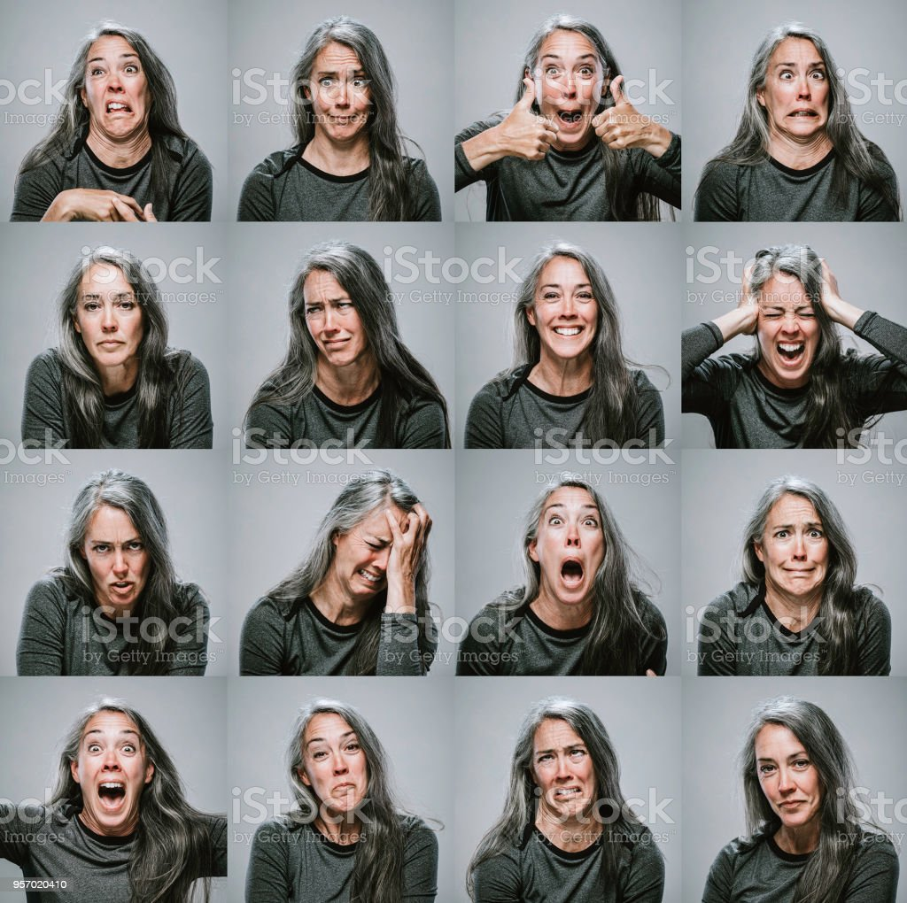 Composite of Mature Woman with Many Emotions and Expressions stock photo