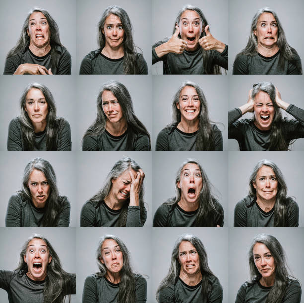 composite of mature woman with many emotions and expressions - emotion stock pictures, royalty-free photos & images