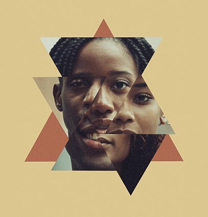 A montage blend of African American faces close up, both men and women with different shades and colors in skin tone.  Melanin beauty.