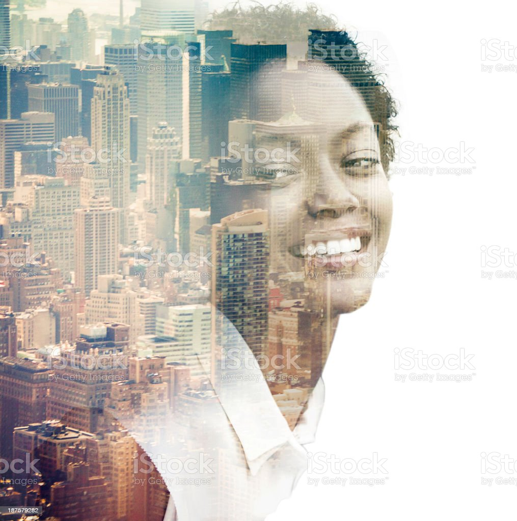 Composite of woman in New York stock photo