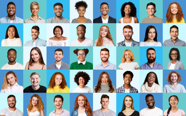 Composite Picture Of Diverse People Expressing Happiness Over Blue Backgrounds stock photo