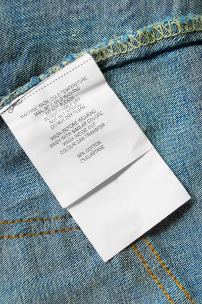 composition and care label - take care of your jeans imagens e fotografias de stock