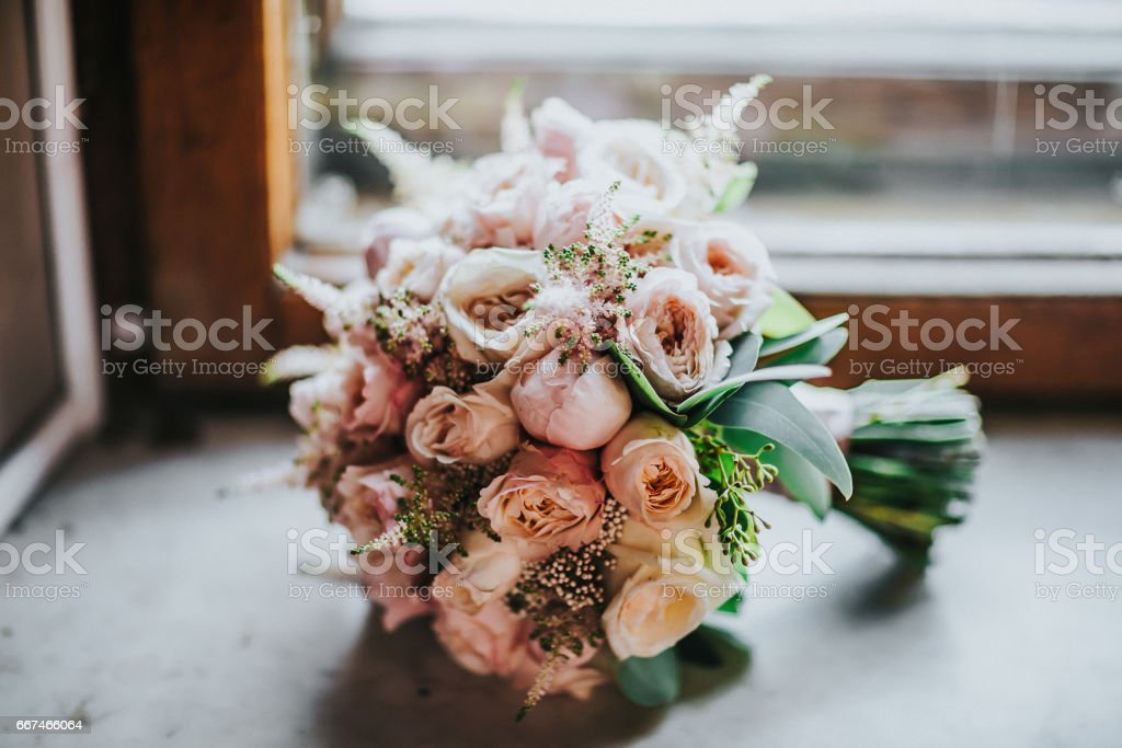 Composition from flowers in wedding bouquet stock photo