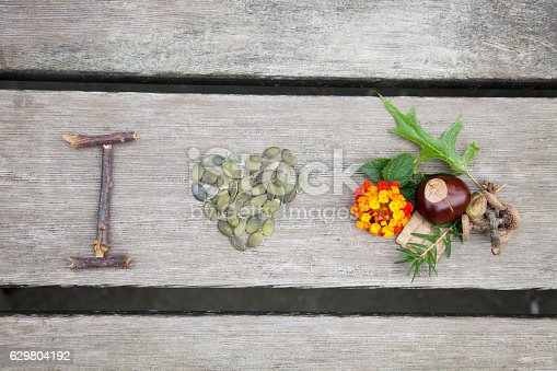istock Composition from nuts, seeds and flowers lying on wooden background. 629804192