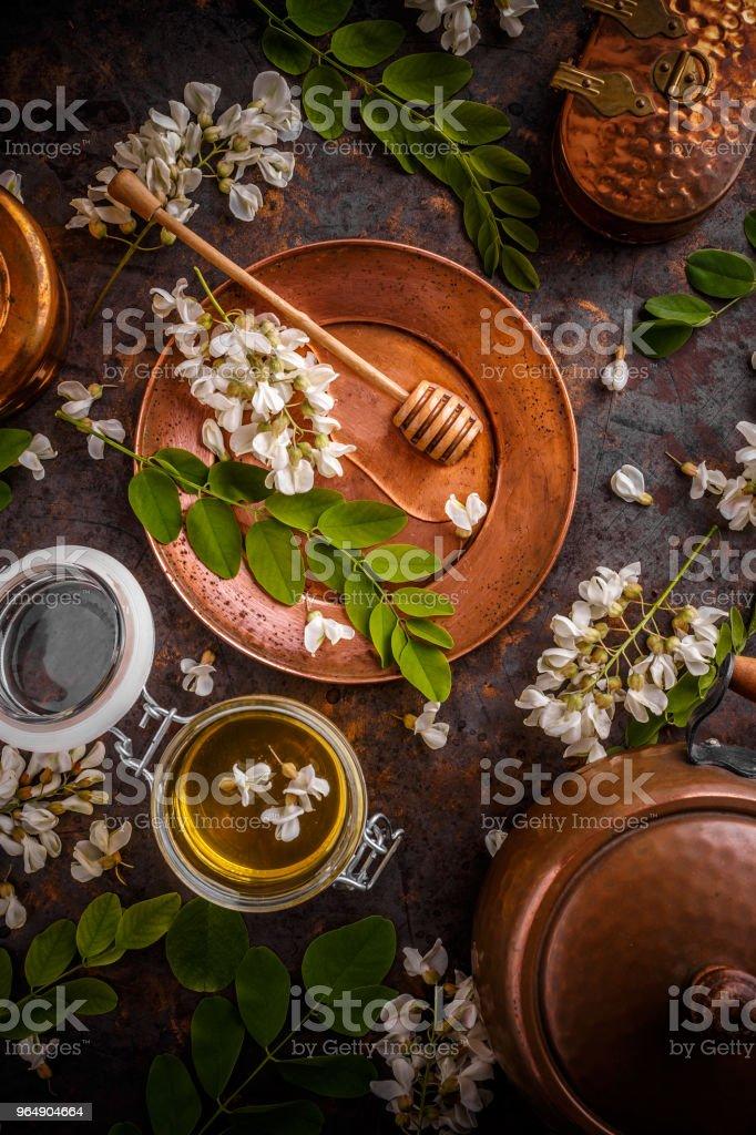 Composition of Acacia honey royalty-free stock photo