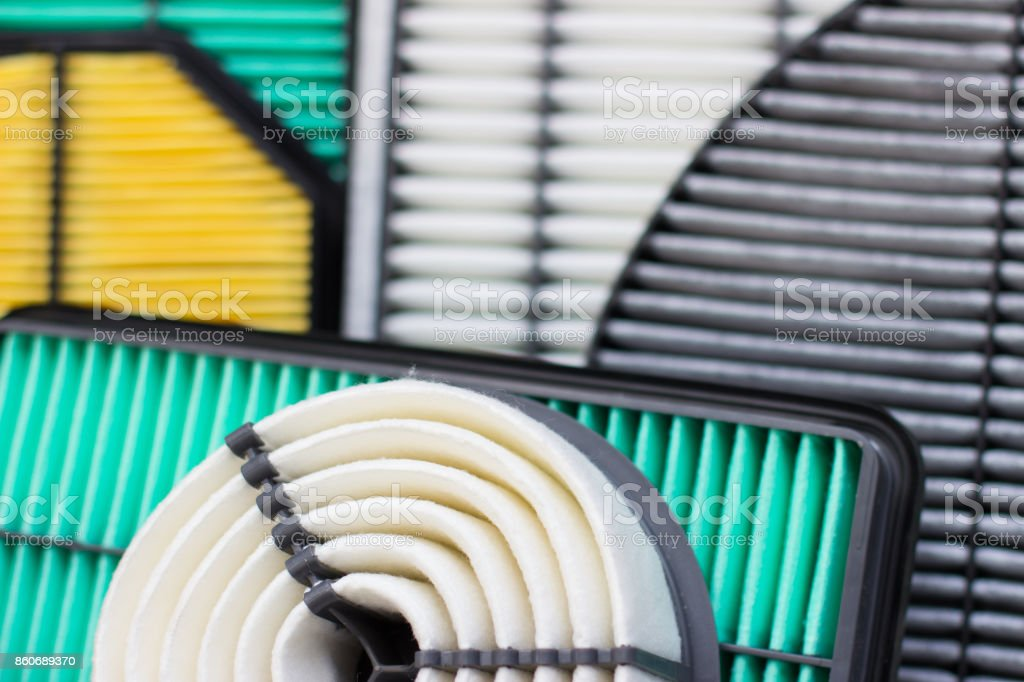 composition of air filters for car engine stock photo