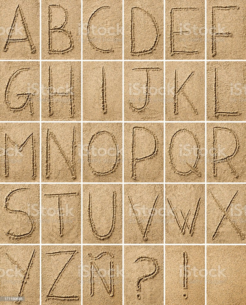 composition of alphabet characters  drawn on sand stock photo