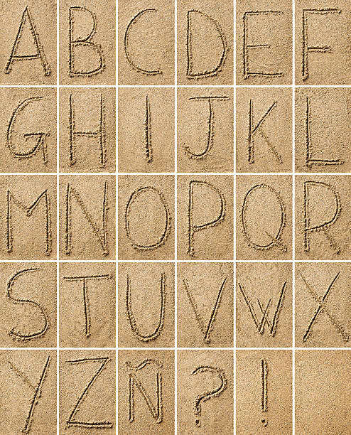 composition of alphabet characters  drawn on sand - ruth 個照片及圖片檔
